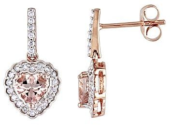 JCPenney Morganite & Diamond Heart-Shaped Earrings