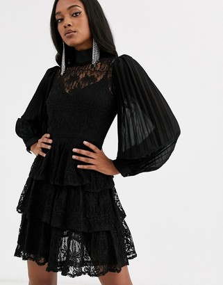Forever U lace mini shift dress with high neck in black