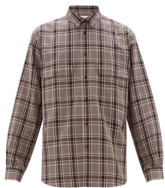 Raey Chest Pocket Checked Cotton Blend Shirt - Mens - Burgundy Multi
