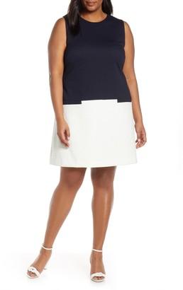 Eliza J Colorblock Jacquard Dress (Plus Size)