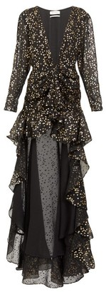 ATTICO Star-print Dipped-hem Dress - Black Gold