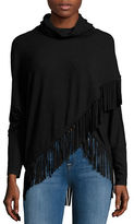 Context Fringe Accented Cowlneck Sweater