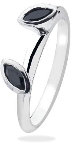 Marquis Virtue Silver StackableVRS3028 2 Stone Black Cubic Zirconia Ring - Size P