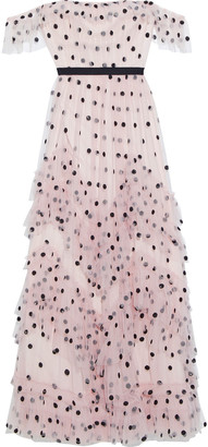Marchesa Notte Tiered Polka-dot Sequin-embellished Tulle Gown