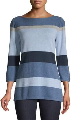 Karen Scott Striped Knit Pullover