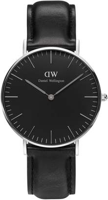 Daniel Wellington Analog Classic Black Stainless Steel and Leather Watch