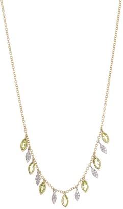 Meira T 14K Yellow Gold Peridot & Diamond Fringe Necklace