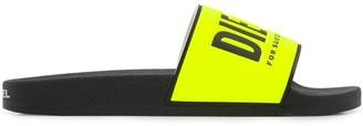 Diesel Logo Print Sliders