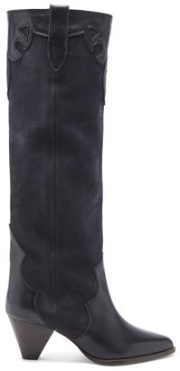 Isabel Marant Litz Suede And Leather Knee-high Boots - Black