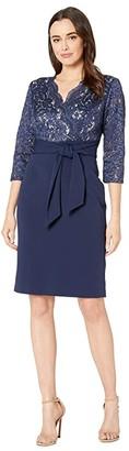Alex Evenings Short Surplice Neckline Dress with Tie Front Faux Belt (Navy/Nude) Women's Dress