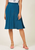 MCB1268A You definitely have that swing when you step out in this teal midi skirt! Part of our ModCloth namesake label, this circle skirt touts a vintage-inspired, high-waisted design in addition to belt loops, pockets, and a silky lining - all of which will surel