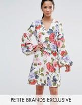 John Zack Petite Floral Mini Dress With Blouson Sleeve