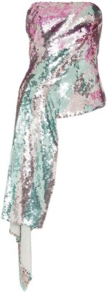 Halpern Metallic sequinned draped strapless top