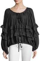 Robert Rodriguez Scoop-Neck Zip-Front Ruffled Jacket