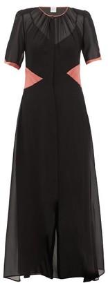 Loretta Caponi Lili Satin-trimmed Silk-georgette Dress - Black Pink