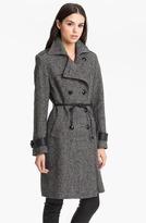 George Simonton Studio Belted Leather Trim Coat