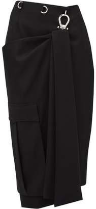 Prada Draped-panel Tricotine Pencil Skirt - Womens - Black