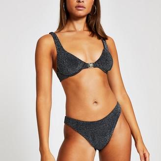 River Island Silver metallic balconette bikini top