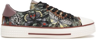 Valentino Garavani Leather-trimmed Embroidered Tie-dyed Canvas Sneakers