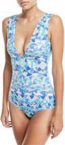 Emilio Pucci Deep-V Printed One-Piece Swimsuit
