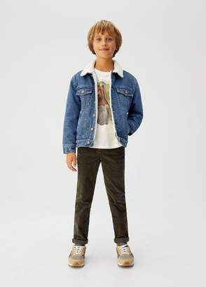 MANGO Faux shearling-lined denim jacket dark blue - 6 - Kids