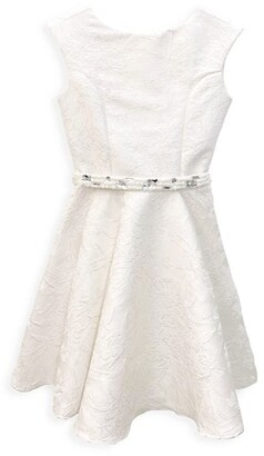 Un Deux Trois Girl's Cap-Sleeve Floral Belted Fit-&-Flare Dress