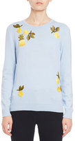 Altuzarra Harding Fruit-Embroidered Sweater, Blue