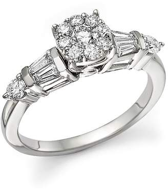 Bloomingdale's Certified Diamond Cluster and Baguette Ring in 14K White Gold, .75 ct. t.w.