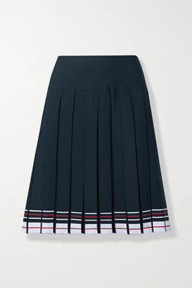 Thom Browne Pleated Striped Stretch-knit Skirt