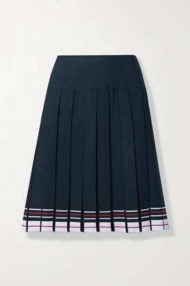 Thom Browne Pleated Striped Stretch-knit Skirt - Navy