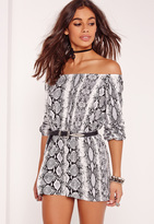 Missguided Petite Exclusive Snake Print Bardot Romper Grey