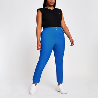 River Island Womens Plus Blue cigarette dart trousers