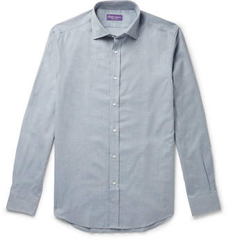 Ralph Lauren Purple Label Cutaway-Collar Brushed Herringbone Cotton Shirt