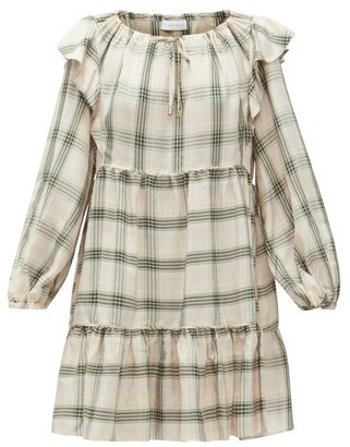 Ephemera - Drawstring Checked Mini Dress - Green Print