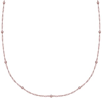 PRIMROSE Sterling Silver Beaded Singapore Chain Necklace