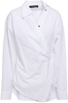 Cédric Charlier Asymmetric Cotton-poplin Wrap Shirt