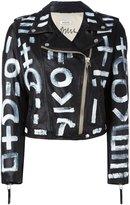 P.A.R.O.S.H. symbol print biker jacket - women - Cotton/Sheep Skin/Shearling - S