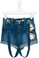 Une Fille - denim suspender shorts - kids - Cotton/Spandex/Elastane - 16 yrs