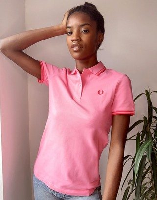 Fred Perry twin tipped polo shirt in pink