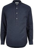 River Island MensNavy blue textured overhead shirt