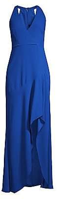 BCBGMAXAZRIA Women's Sleeveless Halter Ruffle Gown