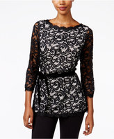 Charter Club Petite Belted Lace Top, Only at Macy's