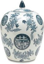 AA Importing 8 Crackle Finish Jar, Blue/White