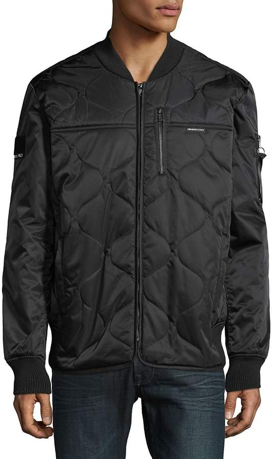 Members Only Men's Quilted Full Zip Bomber Jacket