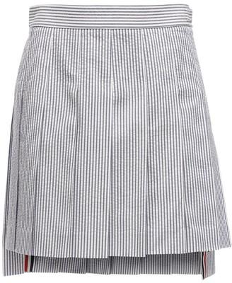 Thom Browne High Waist Striped Cotton Mini Skirt