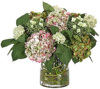 """21"""" Hydrangeas in Cylinder Vase - Faux - NDI - arrangement, pink/green; vessel, clear"""