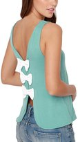 Sexyggs Womens Elegant Butterfly Knot Back Open Back Casual Tank Tops
