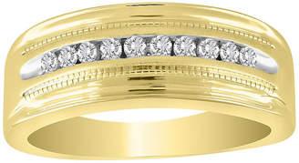 FINE JEWELRY Mens 1/2 CT. T.W. Genuine White Diamond 10K Gold Wedding Fashion Ring