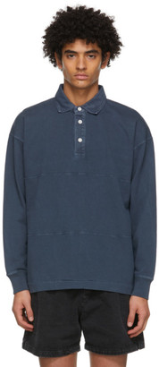 Schnaydermans Blue Garment-Dyed Rugby Polo