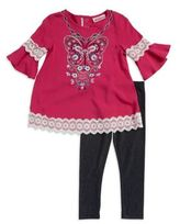 Flapdoodles Little Girl's Butterfly Graphic Top and Leggings Set
